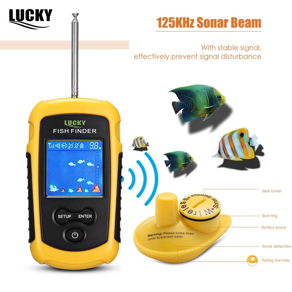LUCKY FFW1108-1 100M 125KHz Wireless Fishing Sonar Fish Finder Alarm Sensor Transducer LCD Highlight LED Sonar Fish FinderLUCKY FFW1108-1 100M 125KHz Wireless Fishing Sonar Fish Finder Alarm Sensor Transducer LCD Highlight LED Sonar Fish Finder