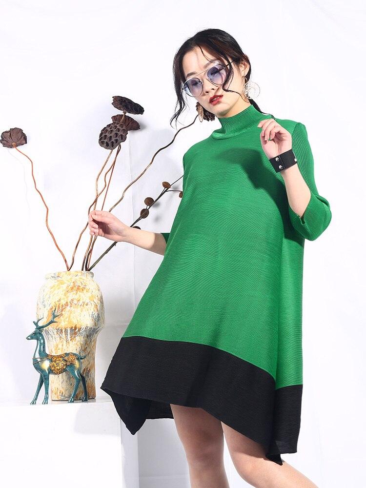 Las eam La Puntada Moda Primavera 2019 Gran Manga Verano Green Suelta Larga De Collar Color Sa56 Tamaño Nueva Marea Vestido Mujeres Falda pZpHrzxq