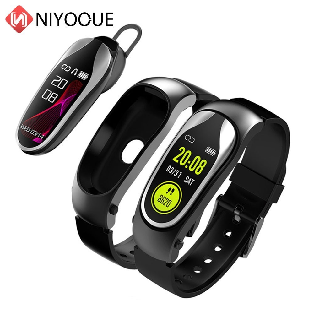 NIYOQUE KR04 Smart Talk Band Bluetooth Headset Bracelet Heart Rate Monitoring Ip67 Waterproof Fitness Tracker Smart