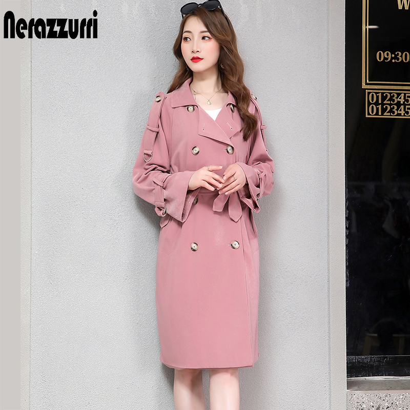 Nerazzurri   trench   coat for women plus size black beige pink double breasted female casual oversize long coat women 5xl 6xl 7xl