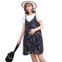 2019 new summer pregnant women dress suits short sleeve t-shirt+strap floral dress twinset maternity fashion clothes set sweet(China)