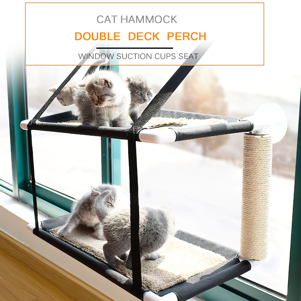 Cat Bed Window Perch Hammock Sunny Seat Double Deck Soft Suction Cups Cat Shelves Sunbath Hammock Mat for Hold UP to 20KG 44lbs