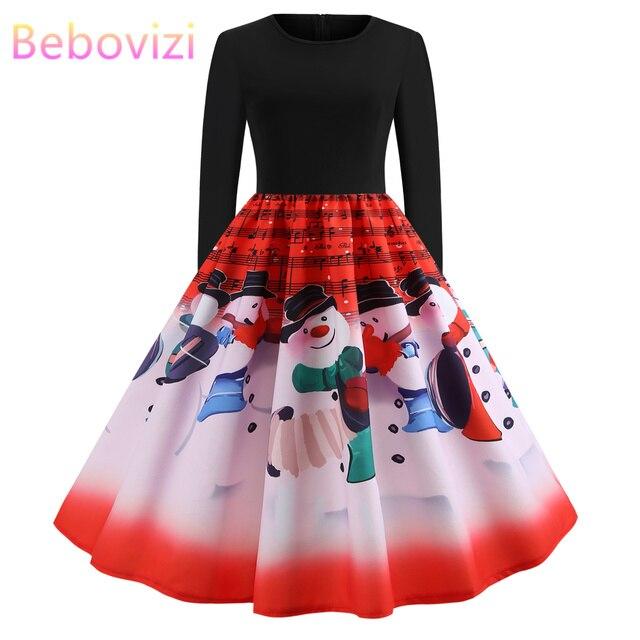 24fc2e2647 Winter Christmas Dresses Women 50S 60S Vintage Robe Swing Pinup Elegant  Party Dress Long Sleeve Casual Plus Size Print Black