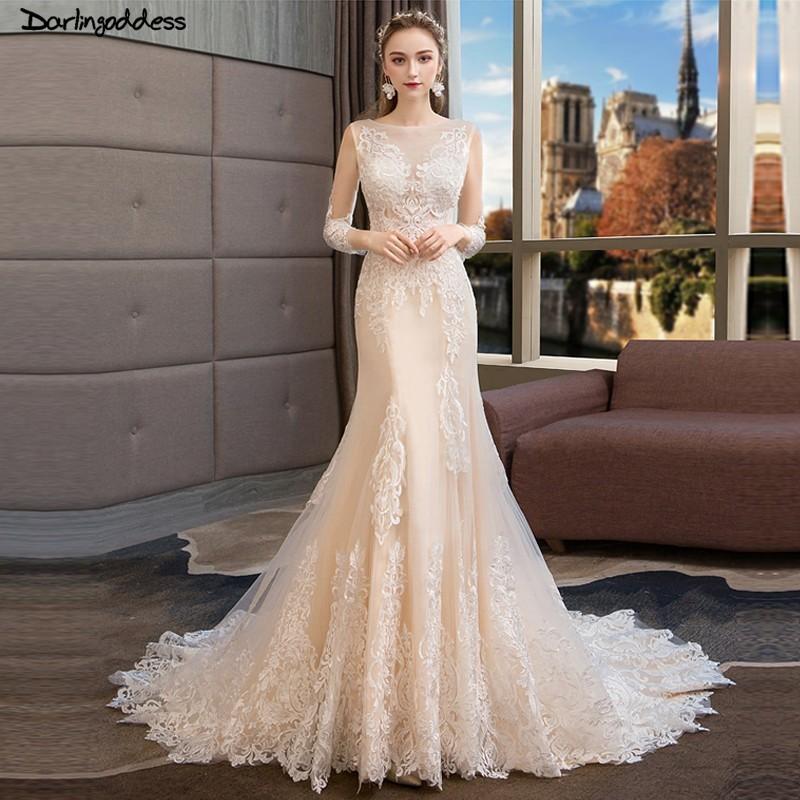 Vintage Lace Mermaid Wedding Dresses Long Sleeves Vestido De Noiva Illusion Champagne Wedding Dresses Boho Wedding Gowns 2019