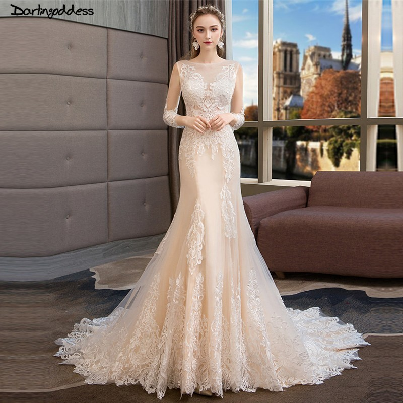 Champagne Vintage Wedding Dresses: Vintage Lace Mermaid Wedding Dresses Long Sleeves Vestido