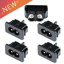 5 шт. IEC320 C8, черная 2-контактная розетка питания, входная розетка переменного тока 250 в А