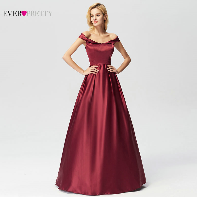 Image 2 - Evening Dresses Long 2019 Ever Pretty Elegant A line Burgundy Off Shoulder Sleeveless New Arrival Special Wedding Occasion Gowns-in Evening Dresses from Weddings & Events