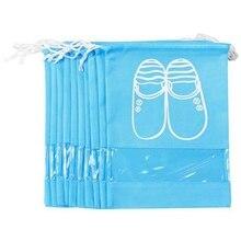 Дорожный органайзер для обуви, сумки для обуви, высокий каблук, шнурок, прозрачное окно, экономия пространства, сумки для хранения небесно-голубого цвета 1