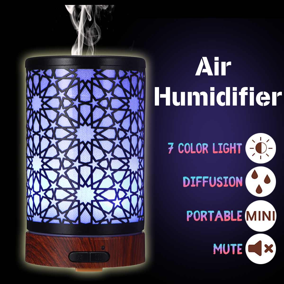 100ml Essential Oil Humidifier Air Aromatherapy Diffuser Purifier Noiseless Iron Mist Maker Humidificador Intelligent LED Lamp100ml Essential Oil Humidifier Air Aromatherapy Diffuser Purifier Noiseless Iron Mist Maker Humidificador Intelligent LED Lamp