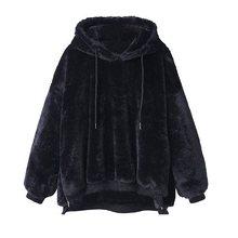 Sisjuly Women Winter Gothic Black Hooded Hoodies Female Casual Plus Size Loose Lace Up Pink Khaki Polar fleece Hoodie Sweatshirt
