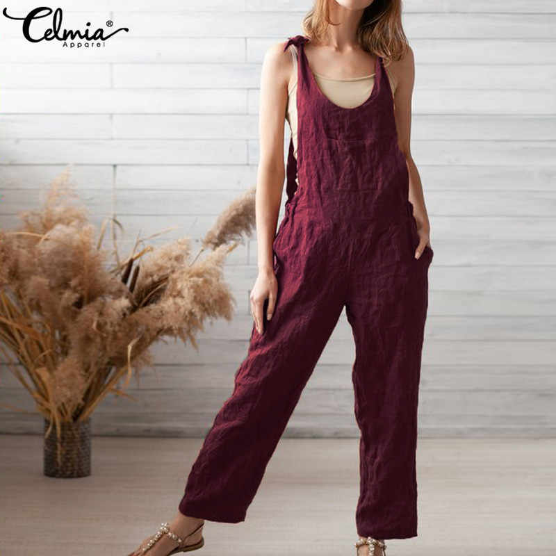 2b3d049a2b0 Celmia Women Vintage Jumpsuits 2019 Summer Casual Sleeveless Strap Long  Trouser Loose Solid Bib Rompers Plus