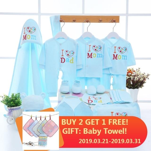 Emotion Moms Newborn Baby 0-3M Clothing Set Baby Boy Girl Pants Shirt Bibs Hat Clothes 100% Cotton Baby Set Underwear 22Pcs/Set
