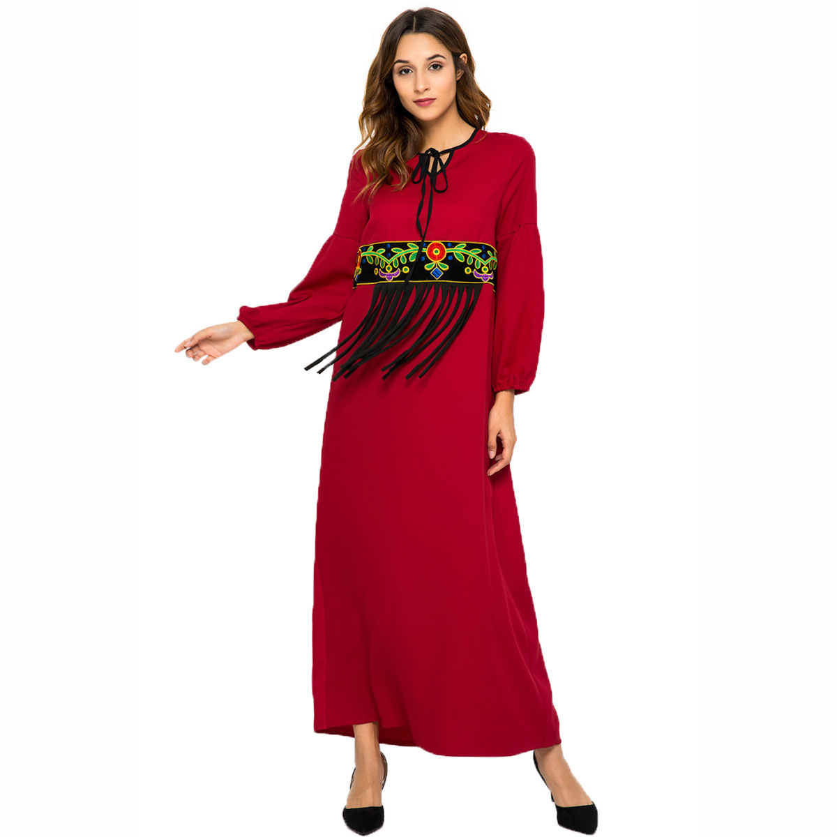 a824d501614f5 Fashion Muslim Women Embroidered Tassel Long Sleeve Dress Abaya Islamic  Middle East Jubah Ramadan Turkish Arabic