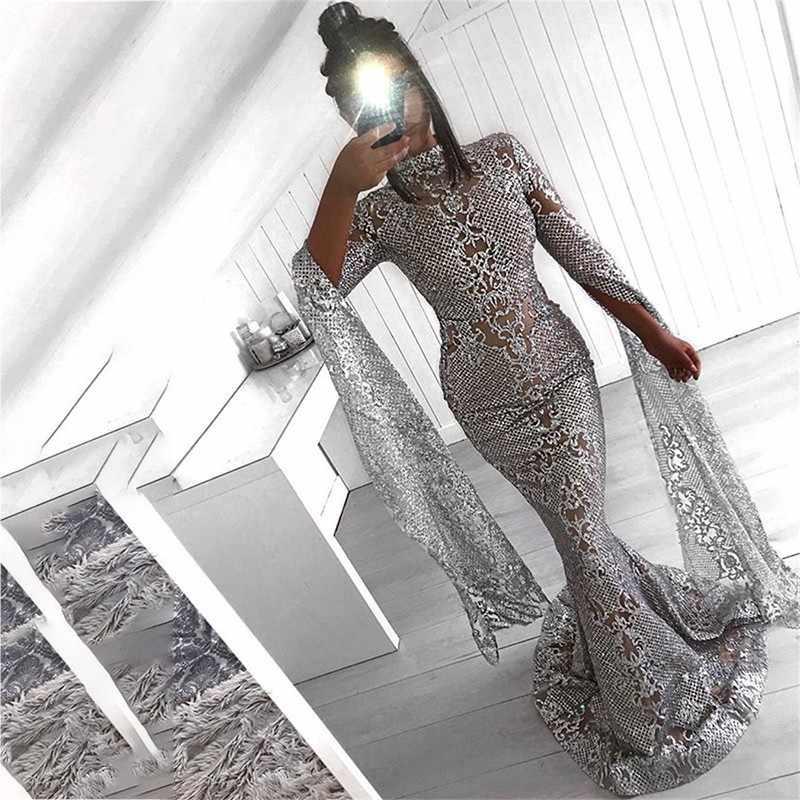 b024b74a18d8 ... Ohvera Mesh Sequin Bodycon Dress Women Sexy Summer Party Dresses 2018  Turtleneck Flare Sleeve Autumn Long ...
