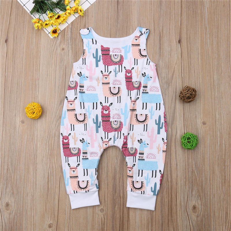 f1a12452503a Cactus Alpaca Round Neck Cotton Jumpsuit Sleeveless Boys Girls Cute Clothes  Outfit Newborn Baby Boy Girl