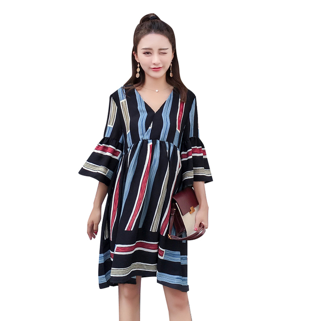 c3829c39b7477 Pengpious 2019 pregnant women summer chiffon striped dress plus size half  flare sleeve v-neck block color maternity dress sweet