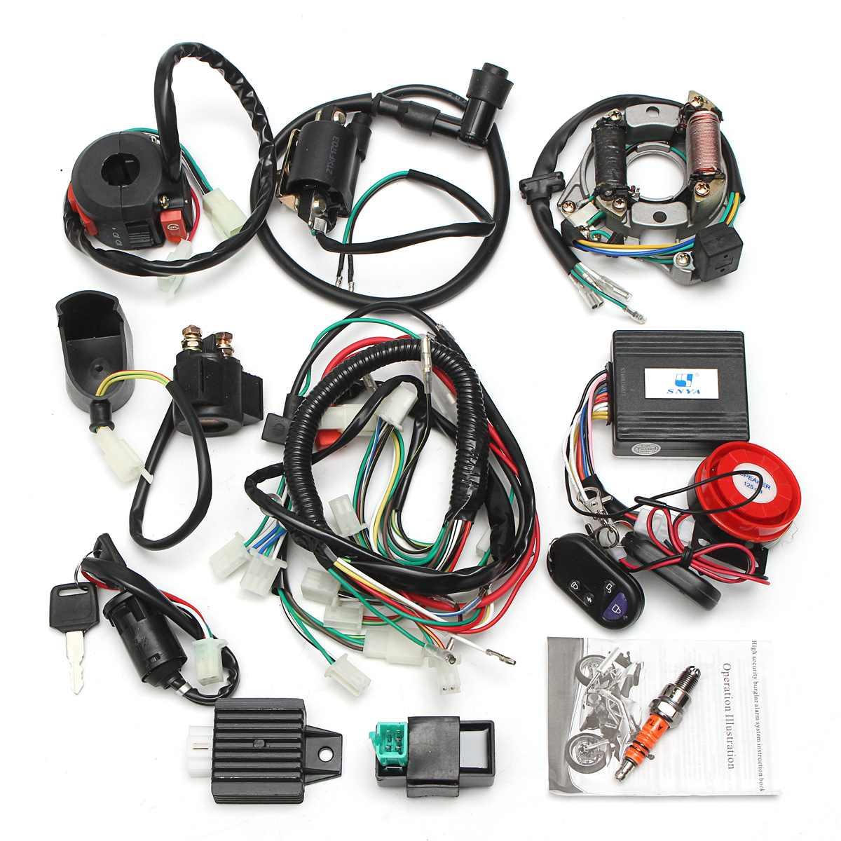 Nouveau système d'alarme faisceau de câblage électrique complet CDI 0cc 70cc 110cc 125cc ATV commutateur de démarrage à distance haute sécurité pour électrique