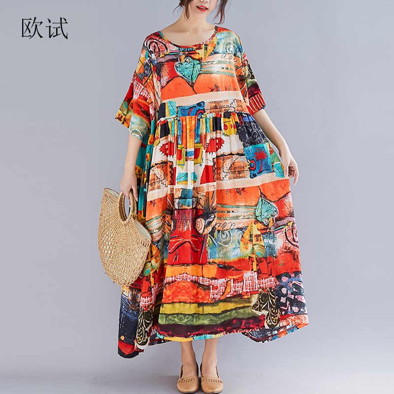 1cf17e6566 Plus Size Women Summer Dress Vintage Sundress Cotton Art Print Maxi Dress  Short Sleeve Loose Casual