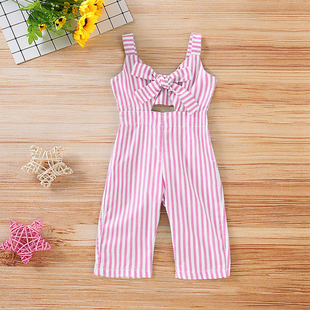 Bowknot Striped Sling   Romper   Toddler Infant Baby Girl Kid Toddler Straps Backless Overall Jumpsuit   Romper   Baby Kids Clothes