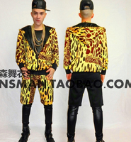 S 5XL ! NEW 2019 Men singer DJ GD Europe US show Leopard Baseball jacket coat Costume costumes clothing