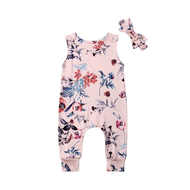 Newborn Baby Girls Clothes Toddler Flower Print Sleeveless Jumpsuit Romper Headband Summer Cotton Girl Playsuit Outfits