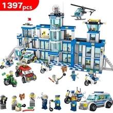 1397 шт. антитеррористическая модель Конструкторы Совместимость LegoING городской полицейский участок серии комплект Детские игрушки Подарки для детей