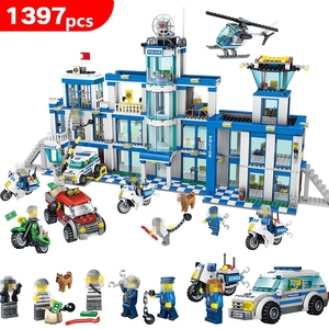 Image 1 - 1397pcs Anti Terrorism Action Model Building Blocks Compatible with City Police Station Series Sets Children boy Toys kids gifts