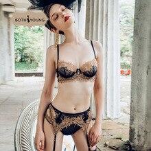 купить BOTHYOUNG Sexy Lace Underwear Embroidered Push Up Lingerie Bralette Set Thin Rim Bra Set дешево