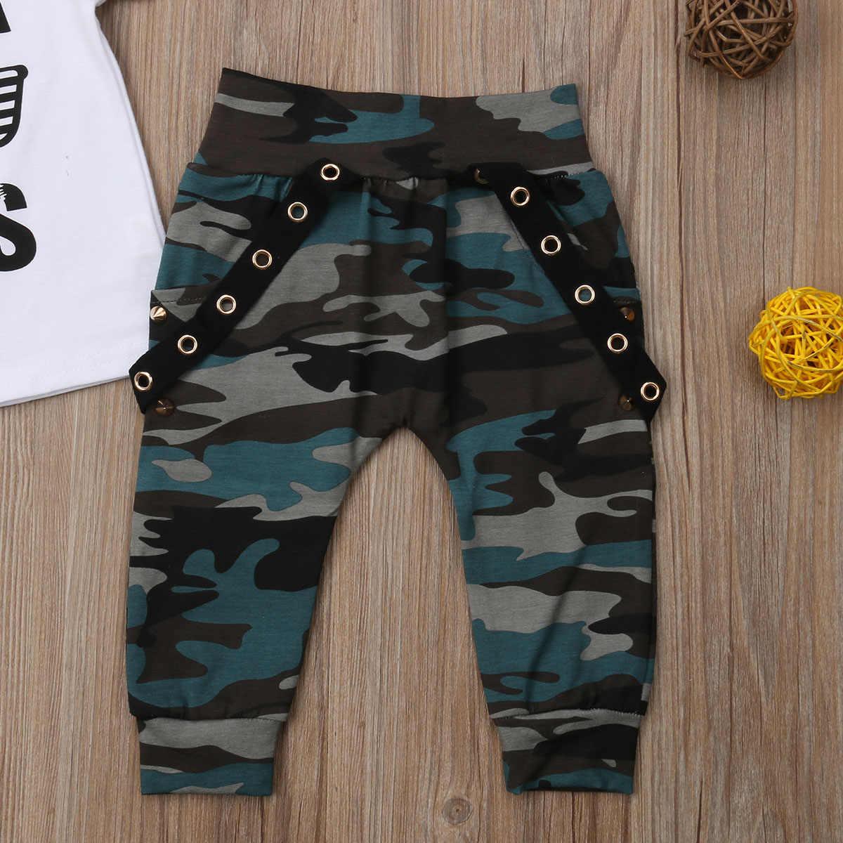f88a3c74f ... 2Pcs Toddler Baby Boys Hip Hop Tops Short Sleeve T-shirt Camo Pants  Outfits Set ...