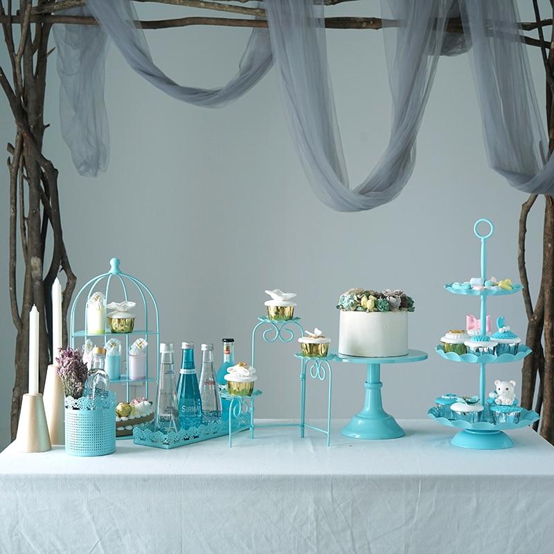 Sweetgo 7 шт синий подставки для пирога набор для день рождения мальчика Душ держатель для кексов лоток Свадебные десертный стол выталкивает ве