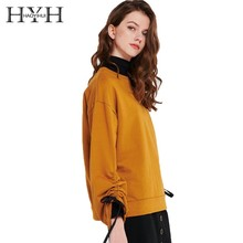 HYH HAOYIHUI 2019 Girl Brown  Drawstring Drop Shoulder Sleeve Round Neck Top New Arrival Casual Hoodie