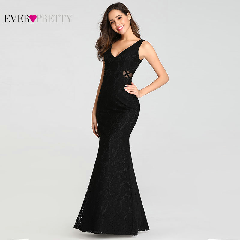 Sexy Evening Dresses Ever Pretty EZ07795BK 2019 Mermaid V-neck Sleeveless See-through Full Lace Formal Party Gowns for Wedding