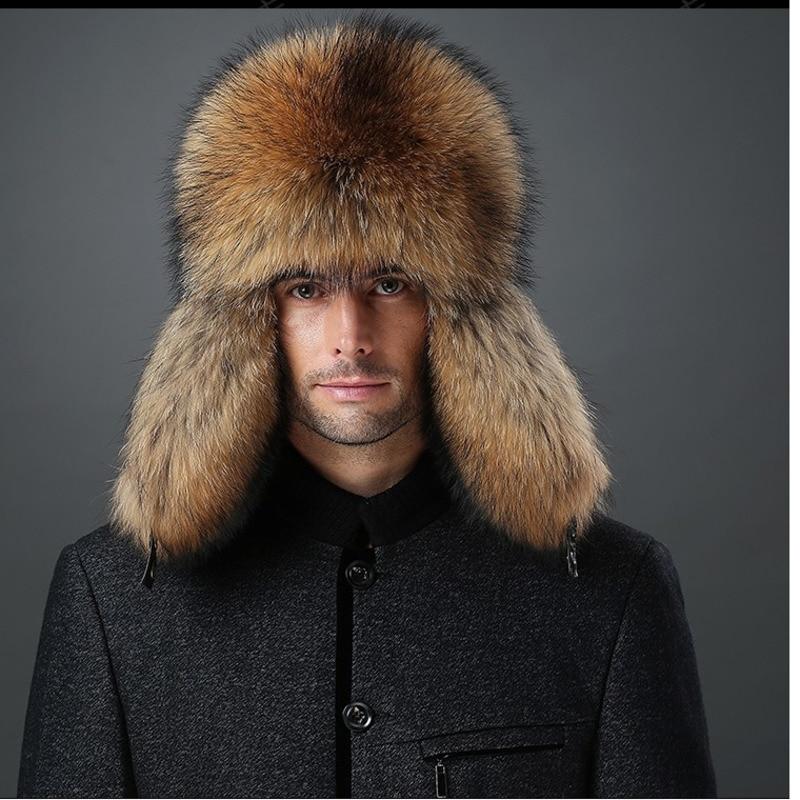 Men Winter Faux Fur Raccoon Plush Russian Cossack Trapper Hats Fashion Hot Sale