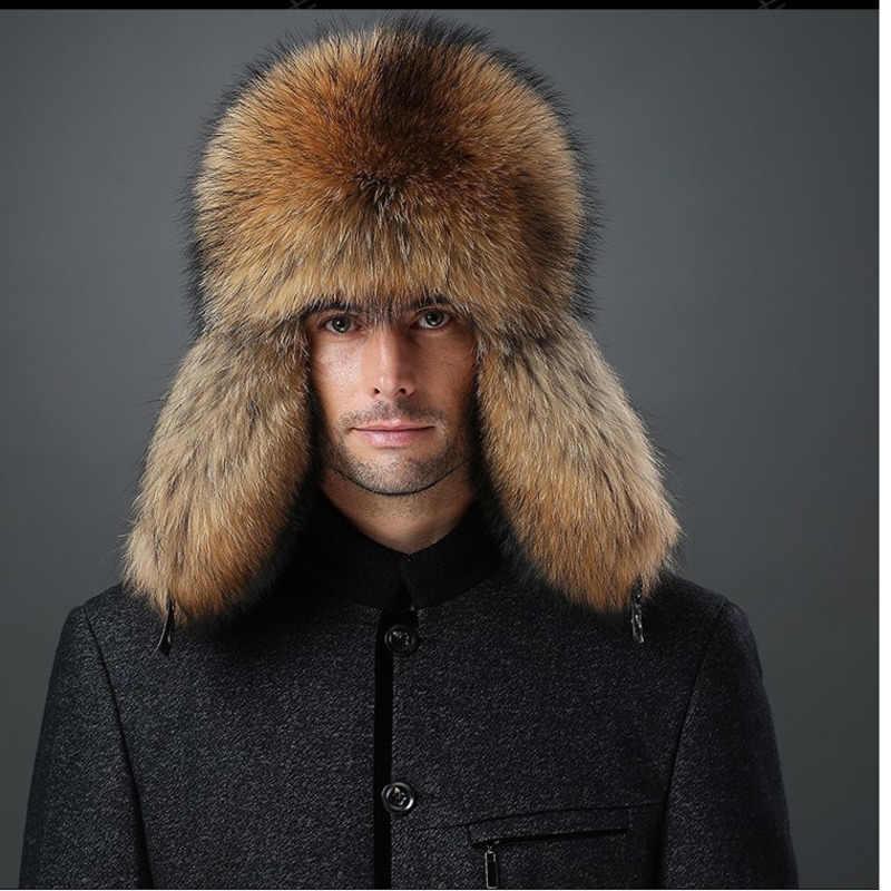 56c7b2013a143 Russian Ushanka Winter Hats Lei Feng real fur hat for men soft genuine  sheepskin leather cap