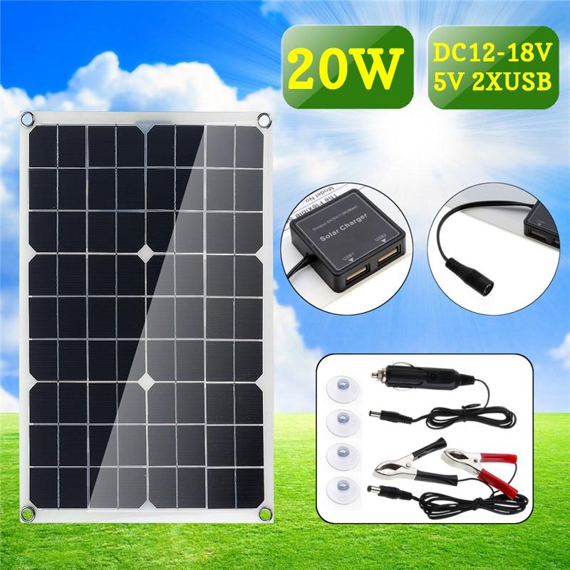 20W 12V/5V Double USB interface Four heads Monocrystalline solar panel For Battery Cell Phone Chargers Cigarette Lighter