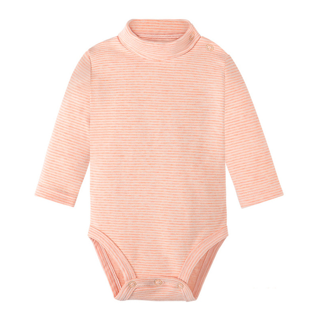 Long Sleeve Bodysuit with Collar Baby Vests Solid Color