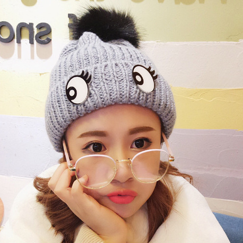 2018 Women Winter Hats Cute Eye Women Hat Man Cotton Ears Caps Adult Thick Warm   Skullies     Beanies   Adult Cap
