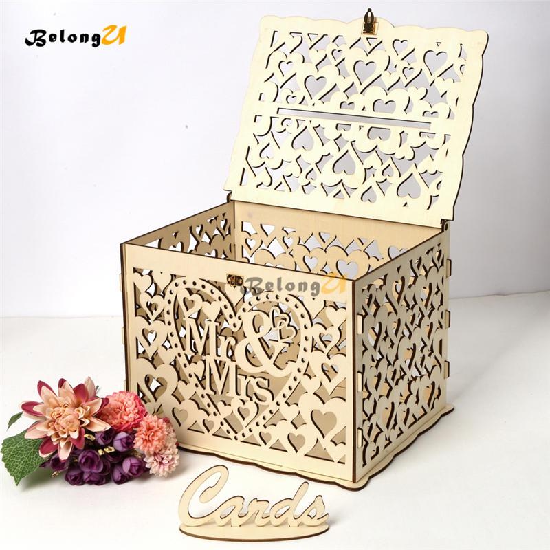 rustic diy wedding card box with lock for gift money box