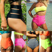 Women Vintage Bikini Panties High Waist Swimwear Bottom Solid Side Split Hollow Bandage Female Swimsuit Briefs Beachwear Bathing