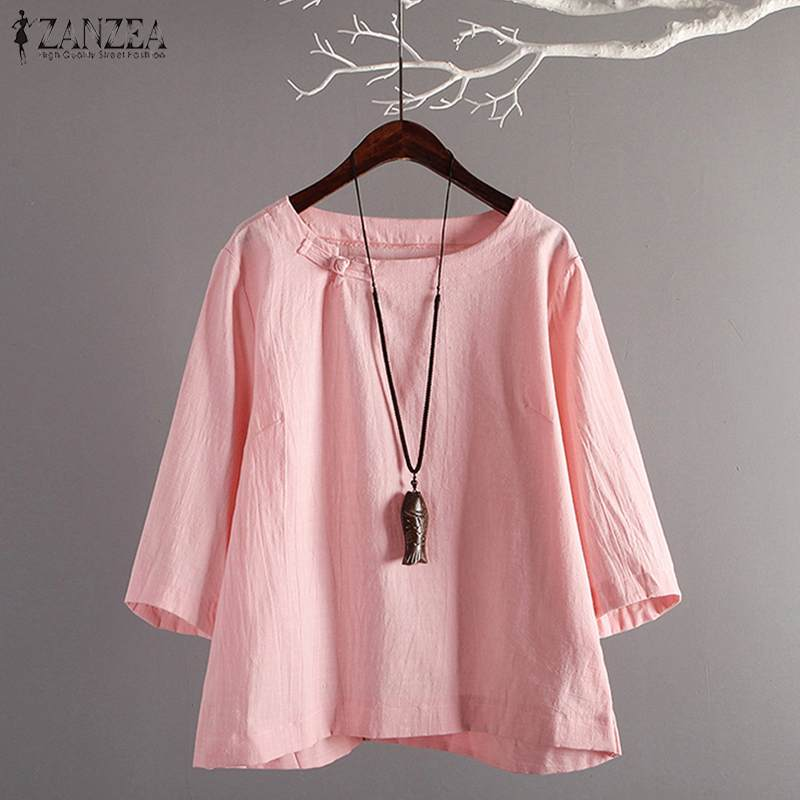 ZANZEA 2019 Summer 3/4 Sleeve Baggy Blouse Vintage Work Loose Blusas Women Casual Solid Cotton Linen Shirt Tunic Tops Female