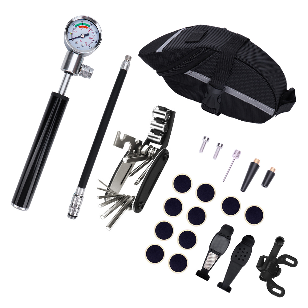 22in1 Bicycle Repair Tools Waterproof Portable Bike Tire Repair Kits Bicycle Pump Cycling Puncture Repair Tool Bag Bike Storage22in1 Bicycle Repair Tools Waterproof Portable Bike Tire Repair Kits Bicycle Pump Cycling Puncture Repair Tool Bag Bike Storage