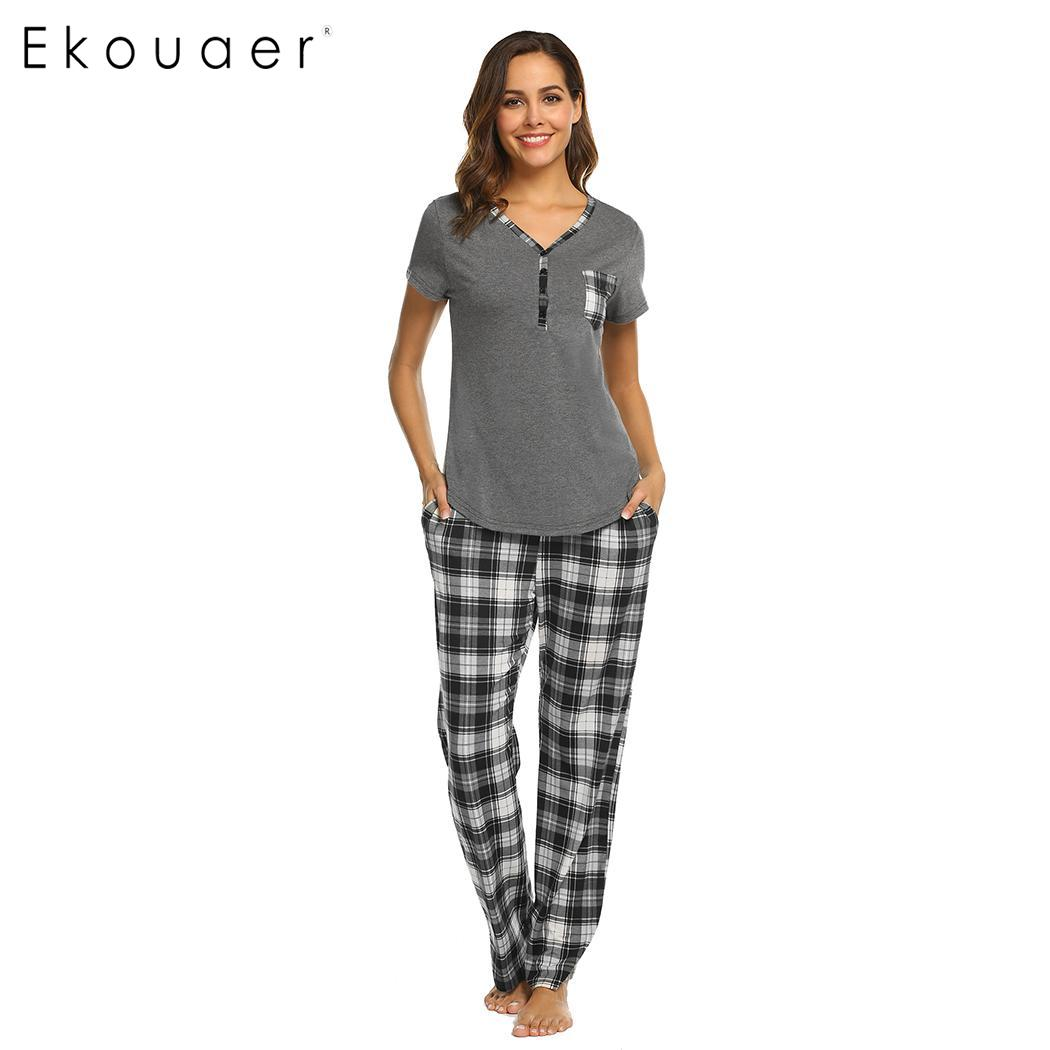 Ekouaer Two Piece   Pajamas     Sets   Women Sleepwear V-Neck Short Sleeve Tops And Plaid Long Pants   Pajama     Set   Female Soft Pyjamas   Set