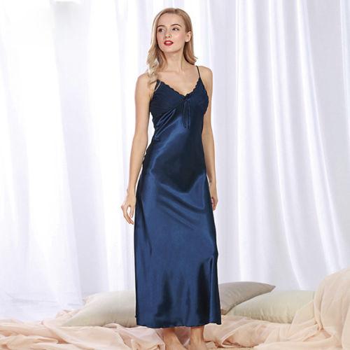 049b269bb1f3 Senhoras Nighties Seda Sexy Cetim Vestido de Noite Sem Mangas Com Decote Em  V Arco Camisola Longa Nightdress Lace Pijamas Roupa de Dormir Para As  Mulheres