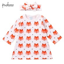 Pudcoco 2019 Brand New Toddler Infant Newborn Baby Kids Girls Cotton Dress +Headband Outfit Sets 0-18M