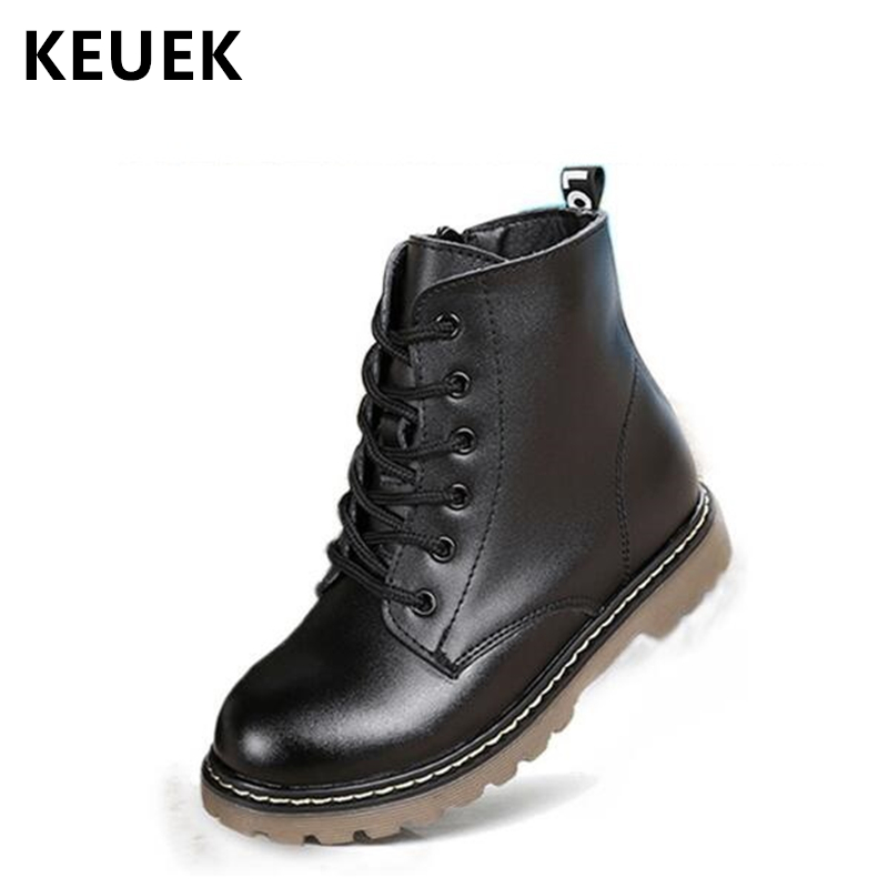 Autumn Winter Children Snow Boots Genuine Leather Girl Boy Black Ankle Boots Slip Resistant Military Boots Kids Shoes 060