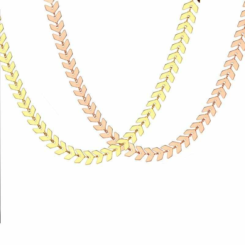 Vnox Trendy Arrow Shaped Choker Necklaces for Women 585 Rose Gold Tone Stainless Steel Ishikawa Diagram Link Chain 28cm/38cm