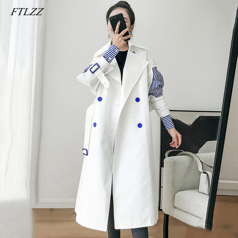 FTLZZ 2019 Patchwork Striped   Trench   Coat For Women Windbreaker Lapel Slim Spring Autumn Windbreakers Korean Fashion Clothes