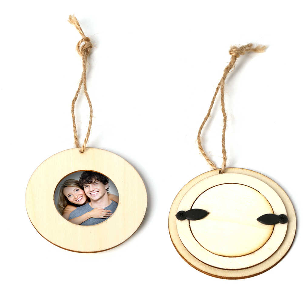 10pcs Mini Picture Frames Wall Photo Frame DIY Wooden Crafts Birthday Gift Round Wood Photo Frame for Picture Hanging Wall Decor