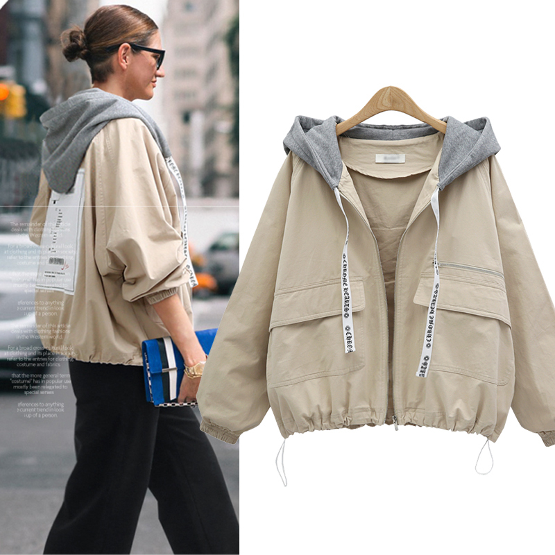 New 2018 Autumn Winter   Trench   Coat Women Clothes Solid Color Hooded Short Windbreaker Coats plus size