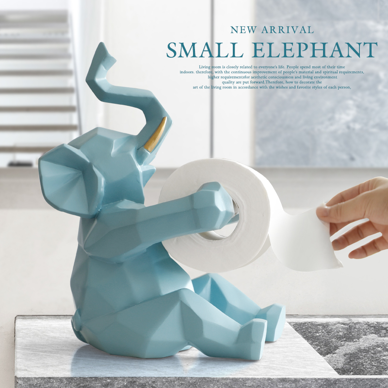 Animal statue Craft roll paper holder Table living room office restaurant hanging paper Elephant/deer figurine home decor Tissue Boxes     - title=
